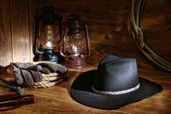 Amerikanische Westrodeo-Cowboyhut-noch Lebensdauer Lizenzfreie Stockbilder