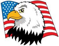 Amerikanischer Adlerkopf mit Markierungsfahne Lizenzfreie Stockbilder