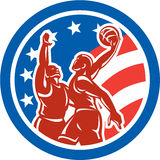 Amerikanischer Basketball-Spieler tauchen den Retro- Block-Kreis ein lizenzfreie abbildung
