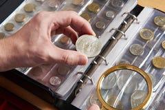 Amerikanischer Dollar in den Händen des Numismatikers Lizenzfreie Stockfotos