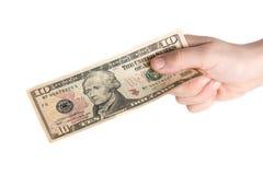 Amerikanischer Dollar in der Hand Lizenzfreies Stockfoto