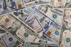 Amerikanischer Dollar oder US-Dollar Banknotenhintergrund Stockbild