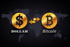 Amerikanischer Dollar zur infographic Schablone Bitcoin-Geldumtauschs auf Weltkartehintergrund Lizenzfreies Stockfoto