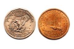 Amerikanischer Dollarmünzenvergleich Stockbild