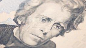 Amerikanischer Dollarschein des Geldes zwanzig der Nahaufnahme Andrew Jackson-Porträt, US 20-Dollar-Banknotenfragmentmakro Stockfotos
