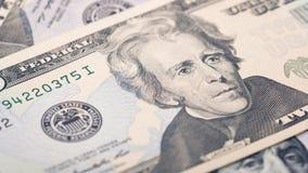 Amerikanischer Dollarschein des Geldes zwanzig der Nahaufnahme Andrew Jackson-Porträt, US 20-Dollar-Banknotenfragmentmakro Lizenzfreie Stockfotos