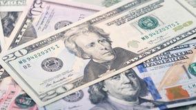 Amerikanischer Dollarschein des Geldes zwanzig der Nahaufnahme Andrew Jackson-Porträt, US 20-Dollar-Banknotenfragmentmakro Stockfoto