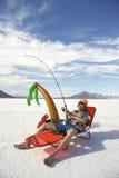 Amerikanischer Fischer Goes am billigen Fischen-Ferien-Feiertag Stockfotos