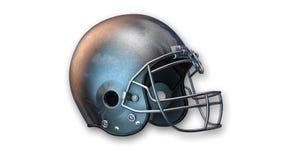 Amerikanischer Football-Helm, Sportausrüstung auf Weiß Stockfotografie