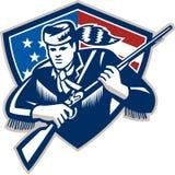 Amerikanischer Frontiersman-Patriot spielt Streifen-Flagge die Hauptrolle lizenzfreie abbildung