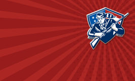 Amerikanischer Frontiersman-Patriot spielt Streifen-Flagge die Hauptrolle stock abbildung