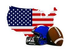 Amerikanischer Fußball mit Flagge und Karte Stockfoto