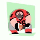 Amerikanischer Fußball-Spieler-Karikatur mit dem großen Muskel Stockbild