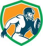 Amerikanischer Fußball-Spieler-laufendes Schild Retro- lizenzfreie abbildung