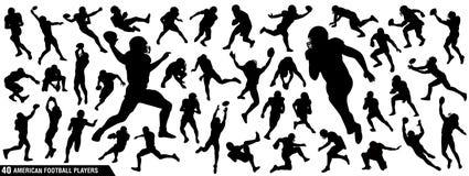 Amerikanischer Fußball-Spieler-Schattenbilder Stock Abbildung