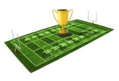 Amerikanischer Fußballplatz mit der goldenen Trophäe Stockbild