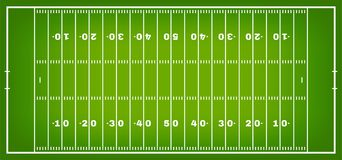 Amerikanischer Fußballplatz mit Markierung Fußballplatz in der Draufsicht mit weißem Aufschlag vektor abbildung