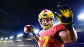 Amerikanischer Fu?ball Spieler des amerikanischen Fußballs in der Profisportarena stockbilder