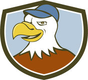 Amerikanischer kahler Eagle Head Smiling Shield Cartoon Lizenzfreies Stockbild
