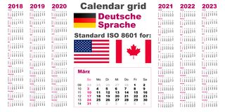 Amerikanischer Kalender Standard-US Deutsche Sprache 2018 Deutsch 2019 2020 2021 2022 2023 Wochenanfänge am Sonntag, USA stock abbildung