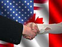 Amerikanischer kanadischer Händedruck Stockbild