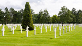 Amerikanischer Kirchhof, Normandie, Frankreich Lizenzfreie Stockfotos