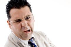 Amerikanischer Mann mit Gesichtsausdrücken Stockbild