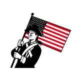 Amerikanischer Patriot, der Flagge Retro- hält Stockbild