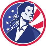 Amerikanischer Patriot Minuteman spielt Streifen-Flagge die Hauptrolle stock abbildung