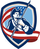 Amerikanischer Patriot-Soldat Waving Flag Shield Stockbilder