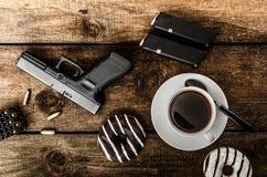 Amerikanischer Polizeibeamtemorgen Stockfoto