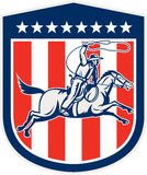 Amerikanischer Rodeo-Cowboy Horse Lasso Shield Retro- Lizenzfreie Stockfotos