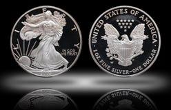 Amerikanischer silberner Adlerdollar-Steigungshintergrund stockfotos