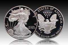 Amerikanischer silberner Adlerdollar-Steigungshintergrund stockfotografie
