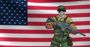 Amerikanischer Soldat Background Animation stock abbildung