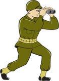 Amerikanischer Soldat Binoculars Cartoon des Zweiten Weltkrieges Lizenzfreies Stockbild