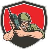 Amerikanischer Soldat Field Radio Shield des Zweiten Weltkrieges Stockfotos