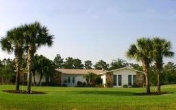 Amerikanischer Traum-Haus mit Palmen und blauen Türen Stockbilder