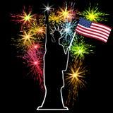 Amerikanischer Unabhängigkeitstag, US-Symbole, Vektorillustration Lizenzfreie Stockbilder