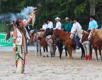 Amerikanischer Ureinwohner auf der Zeremonie. Stockfotos