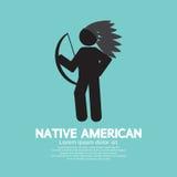 Amerikanischer Ureinwohner mit Waffen-Schwarz-Symbol Stockfoto