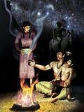 Amerikanischer Ureinwohner und Universum stock abbildung
