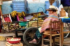 Amerikanischer Ureinwohner von Bolivien, das Früchte von der Schubkarre auf Stadtstraßen verkauft Lizenzfreie Stockfotos