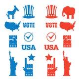 Amerikanischer Wahlikonensatz Republikanischer Elefant und demokratisch Lizenzfreies Stockbild