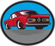 Amerikanischer Weinlese-Muskel-Auto-Rückseiten-Holzschnitt Lizenzfreies Stockfoto