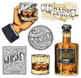 Amerikanischer Whiskyausweis der Weinlese Alkoholischer Aufkleber mit kalligraphischen Elementen Hand gezeichnete gravierte Skizz lizenzfreie abbildung