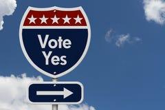 Amerikanisches Abstimmungs-ja Landstraßen-Verkehrsschild Lizenzfreie Stockfotografie