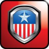 Amerikanisches Abzeichen auf roter Web-Taste Stockfoto