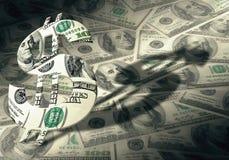 Amerikanisches Dollarsymbol auf Geldhintergrund Stockfoto