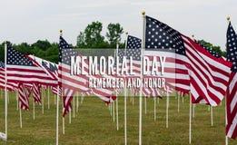 Amerikanisches Feld von Flaggen auf Memorial Day Stockbild